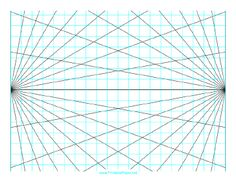 This perspective grid paper is formatted with two points and prints in landscape (horizontal) mode. Angles at 10 degrees. Free to download and print