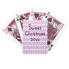 Snowflake heart pattern in purple-lavender color, Sweet Christmas Bicycle Playing Cards - Custom date. Figures in pink color!