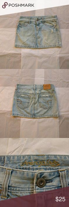 American eagle denim skirt Light blue slightly distressed denim mini skirt from American eagle. Almost new. American Eagle Outfitters Skirts Mini