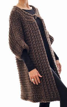 Ravelry: the Swing Coat (Tunisian Crochet) pattern by Karen Clements Crochet Coat, Crochet Jacket, Crochet Cardigan, Diy Crochet, Crochet Clothes, Crochet Hooks, Crochet Afghans, Tunisian Crochet Patterns, Swing Coats
