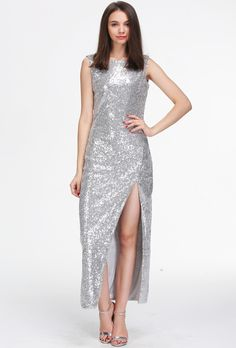 Shop Silver Sleeveless Split Sequin Maxi Dress online. Sheinside offers Silver Sleeveless Split Sequin Maxi Dress & more to fit your fashionable needs. Free Shipping Worldwide!
