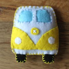 VW Classic campervan Yellow Toy Plushie Air Freshener Felt