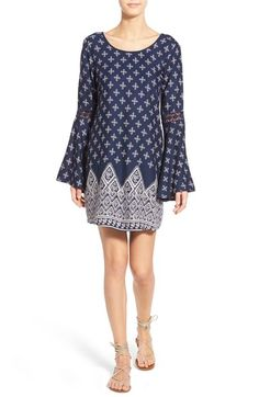 Band of Gypsies Bandana Print Bell Sleeve Dress available at #Nordstrom