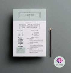 Resume Template CV Cover Letter Reference Elegant Theme Minimal Design