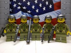 LEGO 5x American's of the 1st Ranger Battalion 1944 with M1A1v2s and Bazooka #LEGO