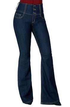 Women Fashion Trendy Sexy High Waisted Stylish Flare Bell Bottom Jean (SIZE : 1, Denim-WV34485DK)