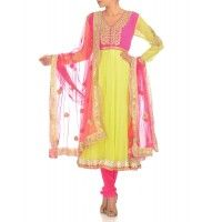 Chartreuse Anarkali Suit with Floral Gota Pattern