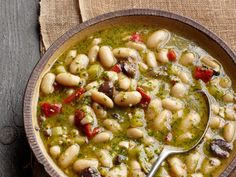 Tuscan Bean Soup, change the stock to vegetable so it's vegetarian. Id also add carrots and celery.