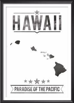 Hawaii State Typography Print