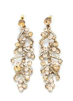 Embellished feather earrings