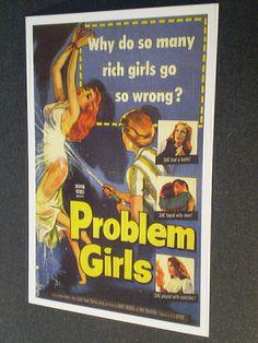 PROBLEM GIRLS  1953  B Movie postcard    Why Do So Many Rich Girls Go So Wrong. $1.50, via Etsy.