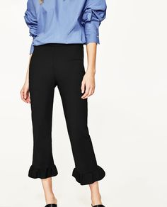 CROPPED TROUSERS WITH FRILL