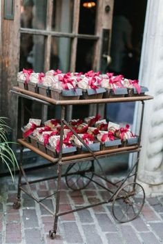 Rustic bridal shower favor presentation.  See more bridal shower favor ideas at www.one-stop-party-ideas.com
