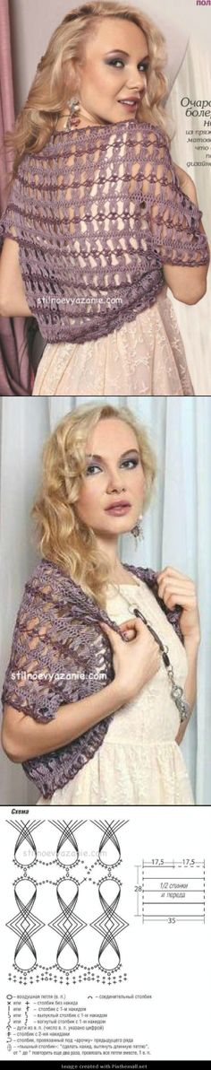cute crochet hairpin lace shrug wrap top.  hairpin gives great drape and I really like the delicate joining crochet