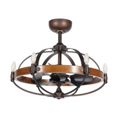 Lilo Ceiling Fan with Lights, Rustic Wood Caged Chandelier Fan, Remote Control, 3 Reversible Blades, Bronze Caged Ceiling Fan, Bronze Ceiling Fan, Decorative Ceiling Fans, Ceiling Fan Chandelier, Dining Room Ceiling Fan, Farmhouse Chandelier, Ceiling Fan With Remote, Wood Ceilings, Rustic Wood