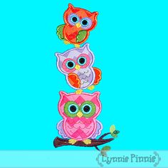 Embroidery Designs - Stacked Owl Trio 4x4 5x7 6x10 - Welcome to Lynnie Pinnie.com! Instant download and free applique machine embroidery designs in PES, HUS, JEF, DST, EXP, VIP, XXX AND ART formats.