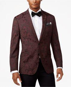 Kenneth Cole Reaction Men's Slim-Fit Burgundy Paisley Dinner Jacket