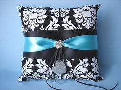 Damask Ring Bearer Pillow in Black and White with Personalized Engraving, Rhinestones and Custom Colors on Etsy, $42.00