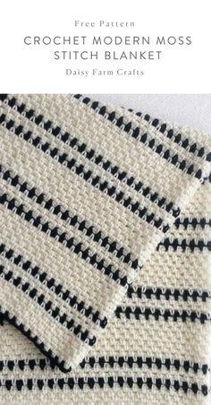 Crochet For Beginners Free Pattern - Crochet Modern Moss Stitch Blanket Crochet Afghans, Baby Blanket Crochet, Diy Crochet, Crochet Baby, Crochet Blankets, Modern Crochet Blanket, Moss Stich Crochet, Christmas Crochet Blanket, Crochet Crafts