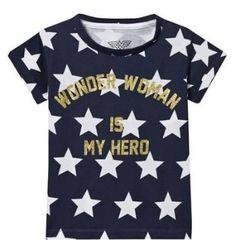 Wonderwoman Is My Hero Star Print T-Shirt