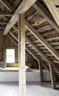 = wood loftspace, white window seat and floor