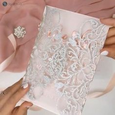 With an exquisite laser cut on silver glittering paper that springs forth and embellishes your foil-pressed words on vellum, these deceptively simple invites are not to be overlooked. Blush backer included.