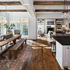 """Evin Blake Home on Instagram: """"Isn't this farmhouse inspired kitchen/living space gorgeous?! 👌Go to EvinBlakeHome (link in bio) and sign up to be notified when my…"""""""