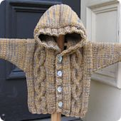 This quick and easy cardigan sweater is knit with a double strand of Debbie Bliss' Baby Cashmerino. Choose 2 of your favorite colors and grab size 10 needles and knit this wonderful hooded sweater in sizes 6/12 months', 18/24 months', 3/4 toddler's or 5/6 child's size.