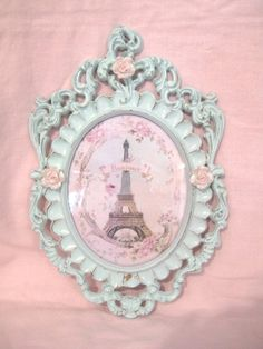 Vintage 1950's Italy VERY Ornate Chic Flourishes Photo Frame Convex/Bubble Glass Shabby Chippy Pale Aqua Blue Pink Eiffel Tower Roses Paris by VintageChicPleasures on Etsy