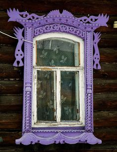 Russian window frame in purple Wooden Windows, Old Windows, Windows And Doors, Wooden Architecture, Russian Architecture, Window View, Through The Window, Architectural Features, Window Frames