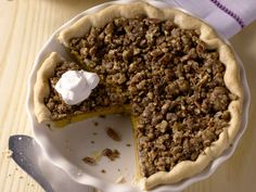 Michele Albano's Maple Pumpkin Pie with Pecan Streusel from FoodNetwork.com
