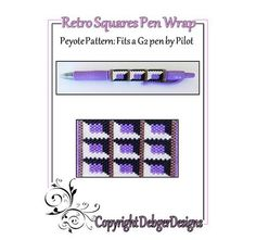 Retro Squares G2 Pen Wrap-Beaded Flat Peyote Pattern