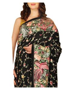 Masterpiece Parsi Gara Hand Embroidered Pure Crepe Saree (Made On Order)
