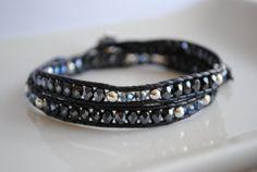 shiny - mysterious - black leather - crystal - smoke - silver - leather wrap bracelet - www.bellamink.com