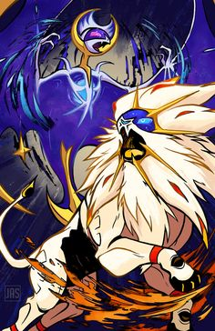 Lunala and Solgaleo from Pokemon Sun and Moon, fan art by Ryuuji