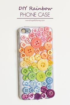 DIY Rainbow Button Phone Case
