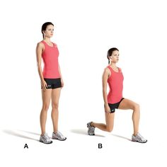 Stand with your feet hip-width apart (A). Step forward with your left leg, bending your left knee until both legs form 90-degree angles—your right knee should nearly touch the floor (B). Push back to start. Repeat, stepping forward with your right leg. Alternate legs for a total of 12 lunges on each side.