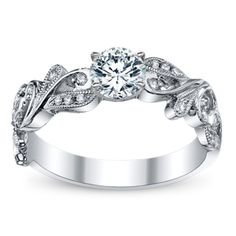 Divine 14K White Gold Diamond Engagement Ring Setting The detailing is so pretty! <3