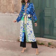 Robe-style long two-piece printed dress – shetarget Kimono Dress, Kimono Top, Stylish Coat, Stylish Dresses, Blue Dresses, Printed, Long Sleeve, Skirts, Collection