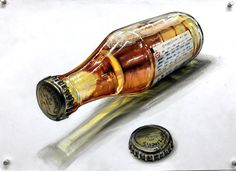 3d Drawings, Pencil Drawings, Object Drawing, Copic Sketch, Wine Art, Hyperrealism, Painting Techniques, Food Art, Colored Pencils
