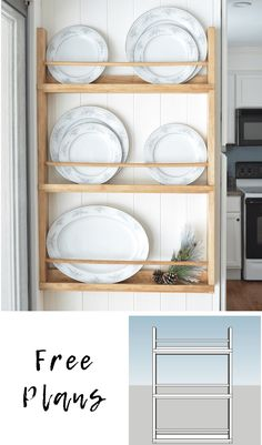 plate racks Build a DIY wall plate rack with these free plans. This post may contain affiliate links. If you make a purchase from one of the links, I may make a small commission at NO EXTR Cabinet Plate Rack, Plate Racks In Kitchen, Plate Rack Wall, Diy Plate Rack, Plate Shelves, Diy Rack, Wall Racks, Kitchen Storage, Kitchen Decor