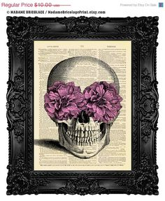 Halloween decor Halloween art SUGAR SKULL Digital Print, Dictionary Art Print, Dictionary Print, Gothic Wall Decor Gothic 433
