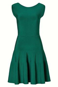 $735 Gorgeous ISSA LONDON Emerald Green Rayon Ribbed Knit Dress, sz S #IssaLondon