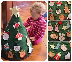 mini felt tree for toddlers to decorate, and undecorated again and again.  This is a heavy weight cone of felt attached from the star to the bottom by velcro (total height 50cm). I've sewn different scraps of green and brown felt and attached 25 buttons. The decorations are made of felt and they are inspired by images found on web.
