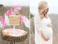 """maternity session style // lace kimono + white dress + gold cake with """"it's a girl"""" topper"""