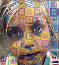Chuck Close inspired. Gotta try this!.....good for 8th grade self portrait.............i can take a photo and then photocopy the print and they can work OVER that......
