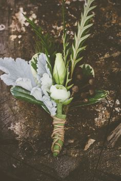 rustic green and white boutonnieres by floral expressions http://www.weddingchicks.com/2013/09/27/wisconsin-wedding/