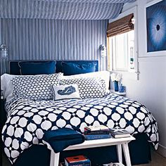 100 Comfy Cottage Rooms | Mixed Patterns | CoastalLiving.com  bedroom window & paint colour