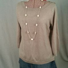 SagHarbor Grey Sweater Very cute grey sweater.  Has a bit of silver sparkle to it.  Accent buttons on shoulders. Note: Necklace is not included.  Size M. Sag Harbor Sweaters