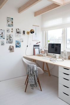 White is a lovely colour for a workspace, like this Scandi inspired home office. It's a look that would work just as well in a bedroom.